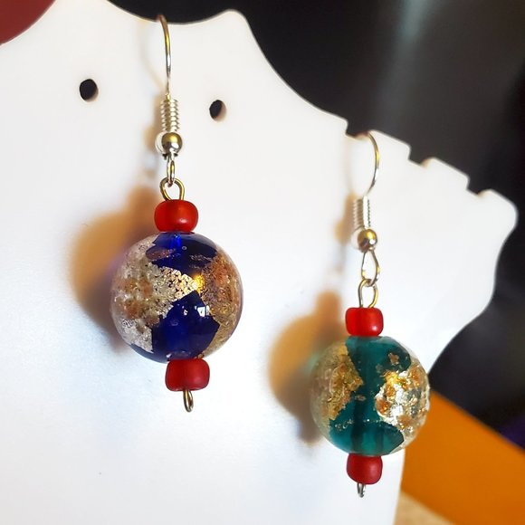 Silver Tone Hook Glass Color Bead Dangle Earrings